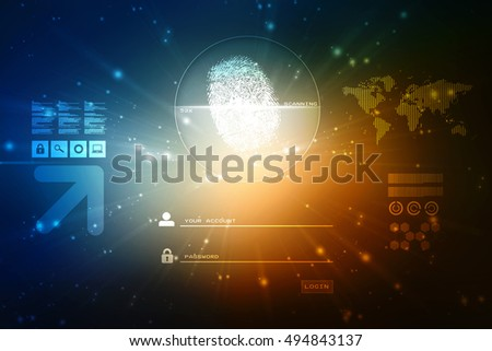 Fingerprint Scanning Technology Concept Illustration. Fingerprint Searching Software. Identity Check,2d illustration