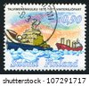 FINLAND - CIRCA 1977: A stamp printed by Finland, shows icebreaker, circa 1977 - stock photo