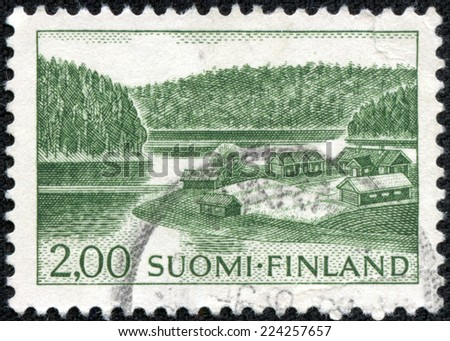 FINLAND - CIRCA 1964: stamp printed by Finland, shows Farm on Lake Shore, circa 1964