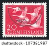 FINLAND - CIRCA 1956: stamp printed by Finland, shows Swans, circa 1956 - stock photo