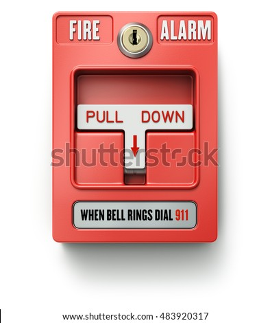 Fire alarm switch over white background - 3D illustration