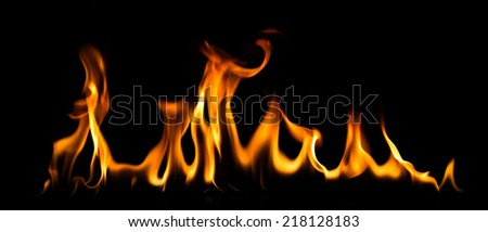 fire and flames on a black background