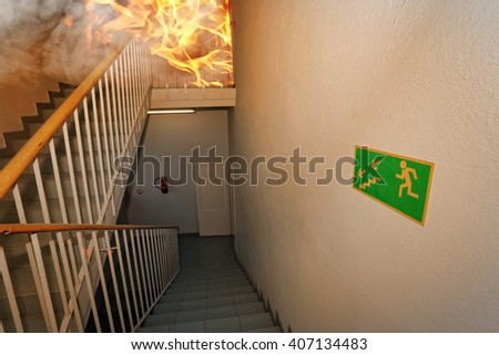 Fire! - Emergency exit in building