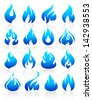 Fire flames blue, set icons. Vector version (eps) also available in gallery - stock vector