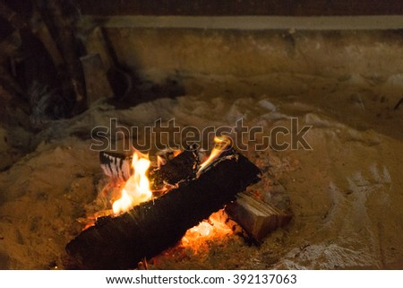 Fire in the stove of Japanese old house
