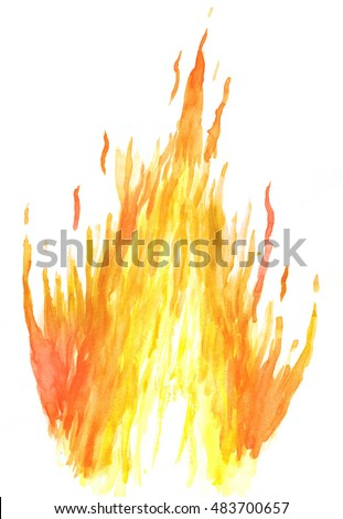 Fire in watercolor