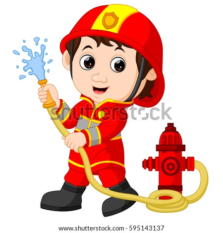 Vector Illustration Cute Fireman Cartoon 564651754 on person with oxygen tank