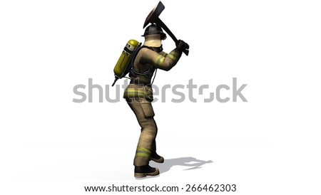 Firefighter with ax in action - separated on white background