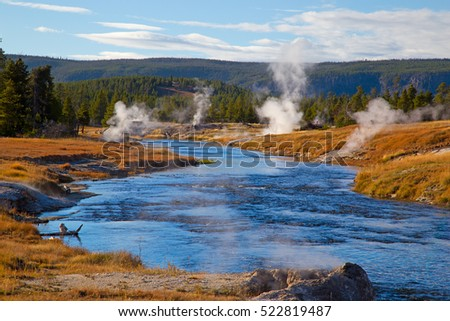 Firehole river in the Yellowstone national park, USA