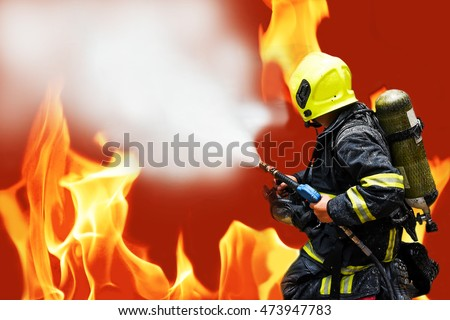 fireman firefighter fighting fire flame