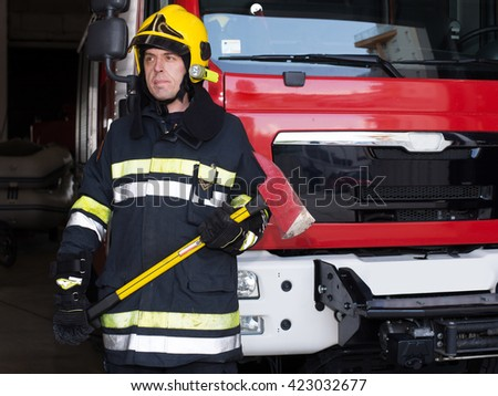 Fireman on duty,under exposed photo