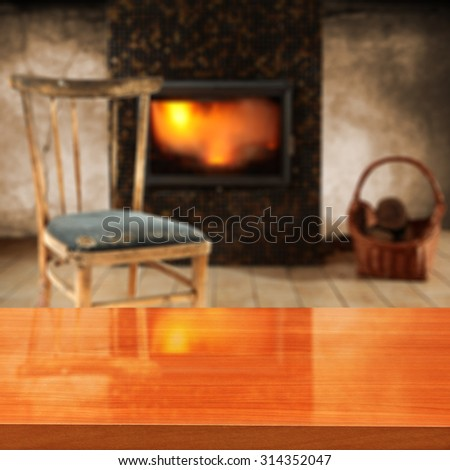 fireplace in room with wall and retro old chair of free space with top