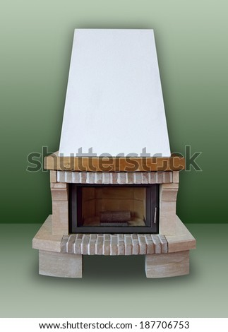 Fireplace made of brick and stone,  with white chimney on a green background