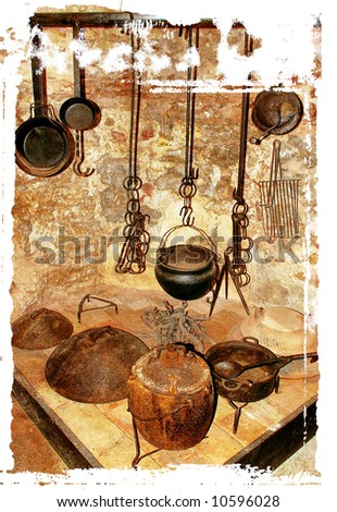 fireplace with dishware - in ancient mediterranean house