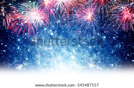 Fireworks, blue background for New Year