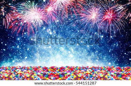 Fireworks, confetti, background New Year
