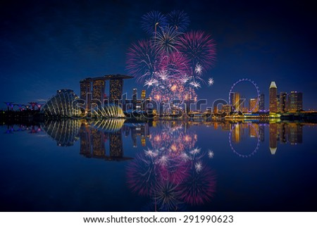 Fireworks over Marina bay in Singapore on National day rehearsal