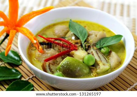 Fish ball green  curry is Thai cuisine.