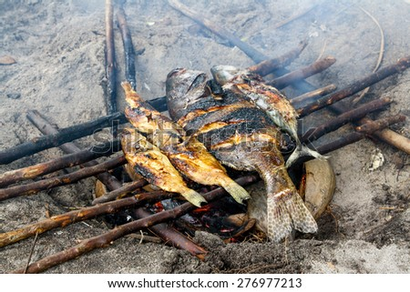 Fish is cooking on bonfire from coconut peels