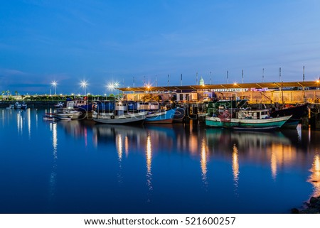 Fish market in Panama City at blue hour
