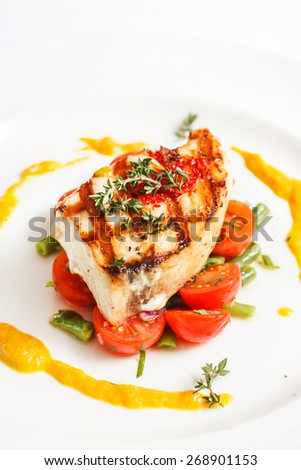 Fish steak vegetables stock photo 293167487 shutterstock for What vegetables go with fish