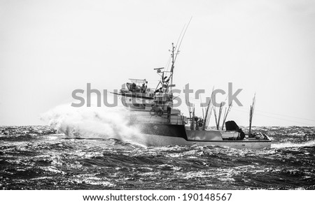 Fisherman's boat in the storm