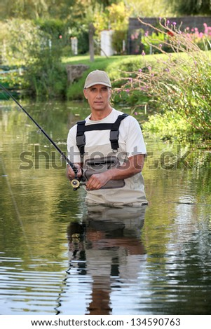 Fisherman stuck in river