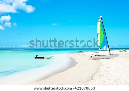 Fishermans Huts on Aruba island in the Caribbean Sea