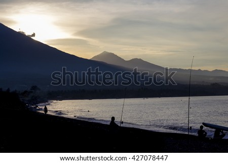 Fishing at sunset on Amed beach
