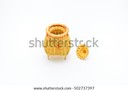 Fishing creel, basketwork made from bamboo isolated on white backgound, in Thailand.