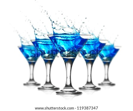 five Blue curacao cocktail with splash isolated on white