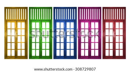 Five colorful windows isolated on white background