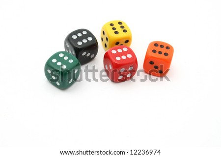 five dice showing a 6 on white background