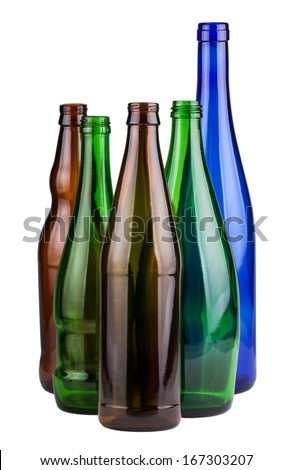 Five empty unlabeled bottles isolated on white background