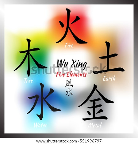 Five feng shui elements set chinese stock vector 535824361 - Feng shui chinese symbols ...