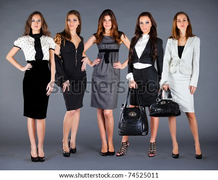 Girl Different Clothes Autumn Winter Collection Stock Photo ...