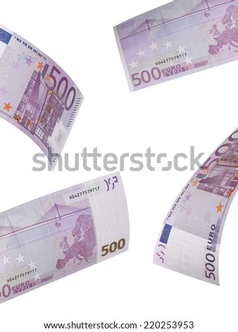 Five hundred euro bills collage isolated on white. Vertical format