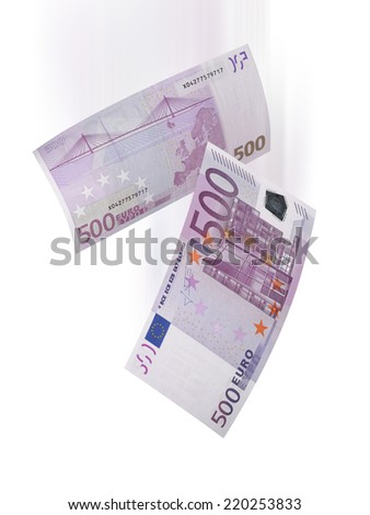 Five hundred euro bills falling isolated on white. Vertical format