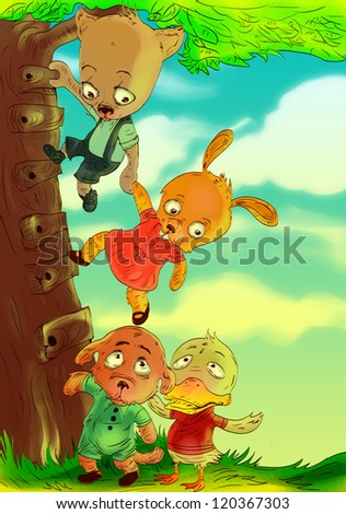 Five little friends helping each other to climb a tree
