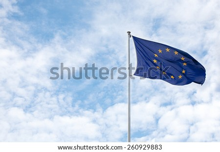 flag european union against blue sky