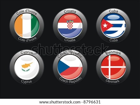 Flag icon set (part 8 – Cote d'Ivoire, Croatia, Cuba, Cyprus, Czech Republic, Denmark)