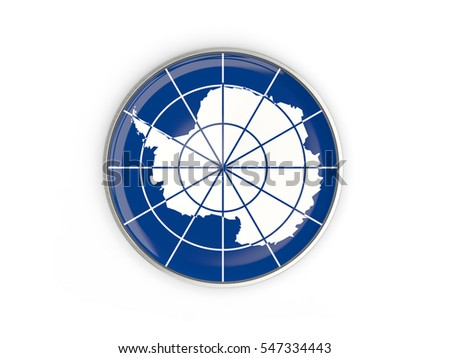 Flag of antarctica, round icon with metal frame isolated on white. 3D illustration