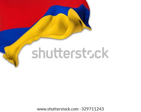 Flag of Armenia waving over corner page with a withe background