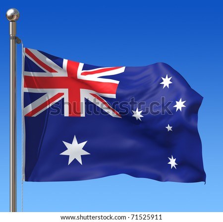 Flag of Australia with flag pole waving in the wind against blue sky. Three-dimensional rendering illustration.