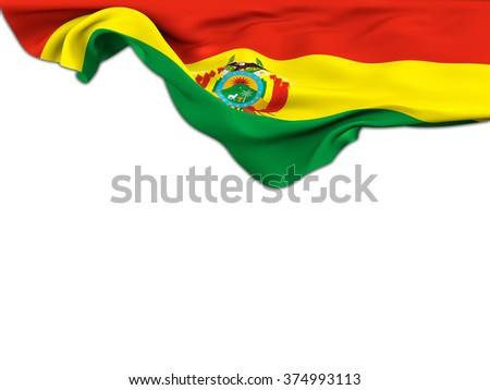 Flag of Bolivia moved by the wind leaning on a white background