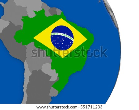 Map flag brazil stock vector 194848493 shutterstock flag of brazil on simple globe with grey countries and blue ocean 3d illustration gumiabroncs Images