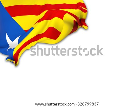Flag of Catalonia-blue estelada. waving over corner page with a withe background