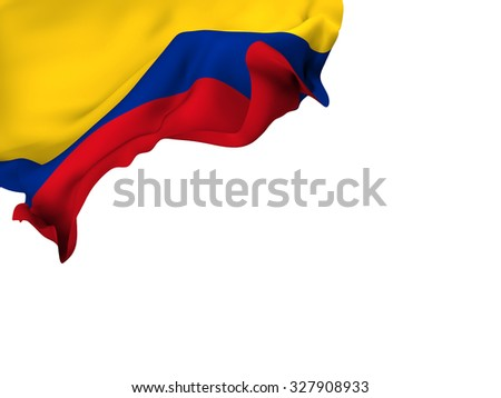 Flag of Colombia waving over corner page with a withe background