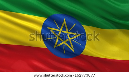 Flag of Ethiopia waving in the wind