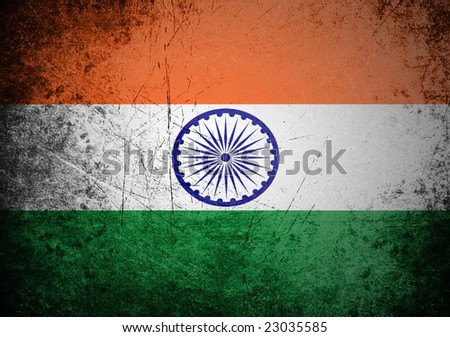 flag of India on old wall background, vector wallpaper